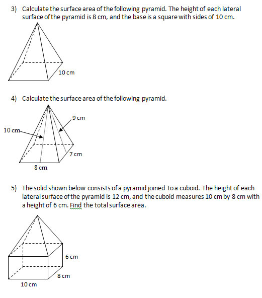 Find the surface area of solids III Worksheets and Solutions – Surface Area Worksheet
