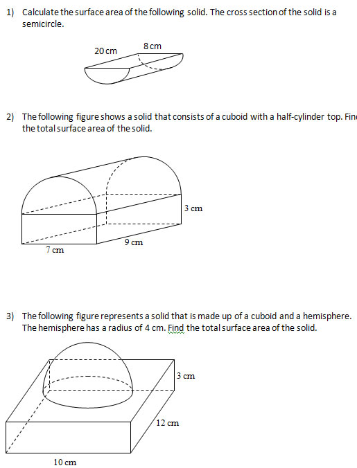 Surface Area of Solids (Worksheets and Solutions)