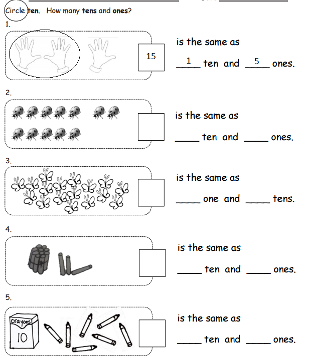 Worksheet for tens and ones
