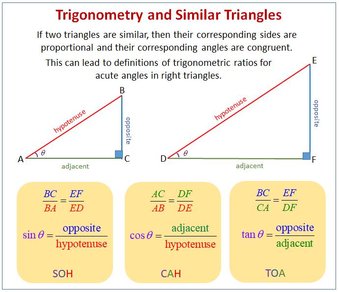 Trigonometry Similar Triangles
