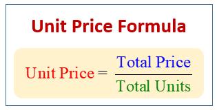 Unit Price Formula