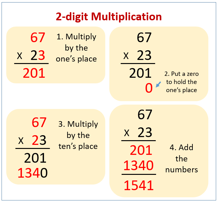 Multiply 2-digit numbers by 2-digit numbers (examples ...