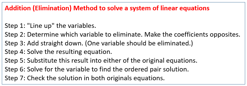 Addition Elimination Method System of Equations