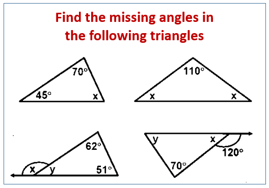 Find The Missing Angle In A Triangle Examples Solutions