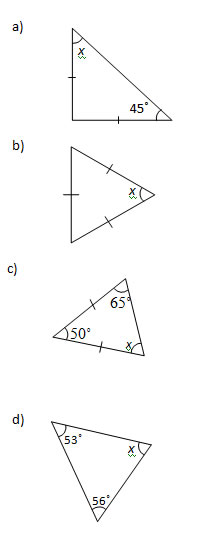 Angles in a Triangle Worksheets and Solutions Part 2