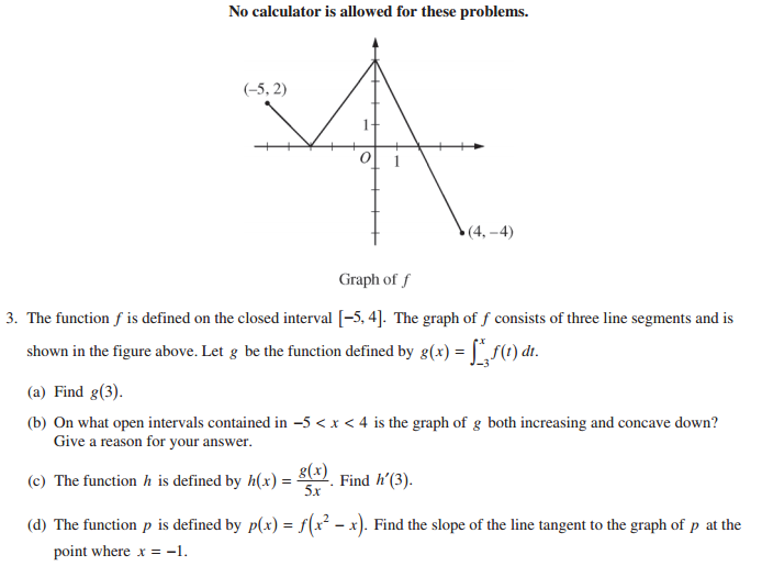 Ap calculus ab 2014 exam solutions questions videos ap calculus ab 2014 free response question 3 show step by step solutions sciox Gallery