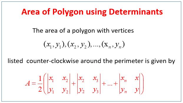 Area Polygon using Determinants