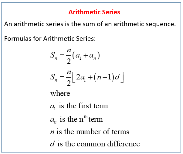 Arithmetic Series (solutions, examples, videos, worksheets, games ...