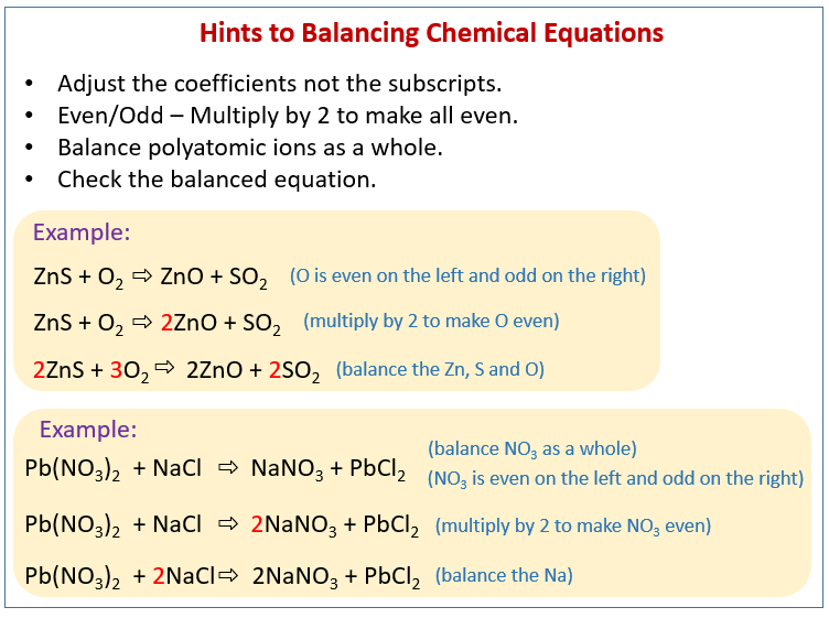 Balance Chemical Equations Solutions Examples Videos