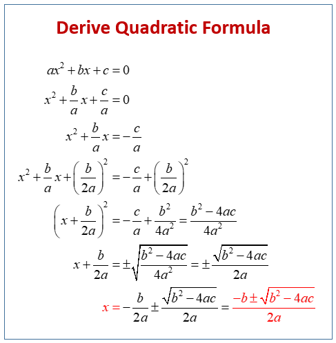 Derive Quadratic Formula
