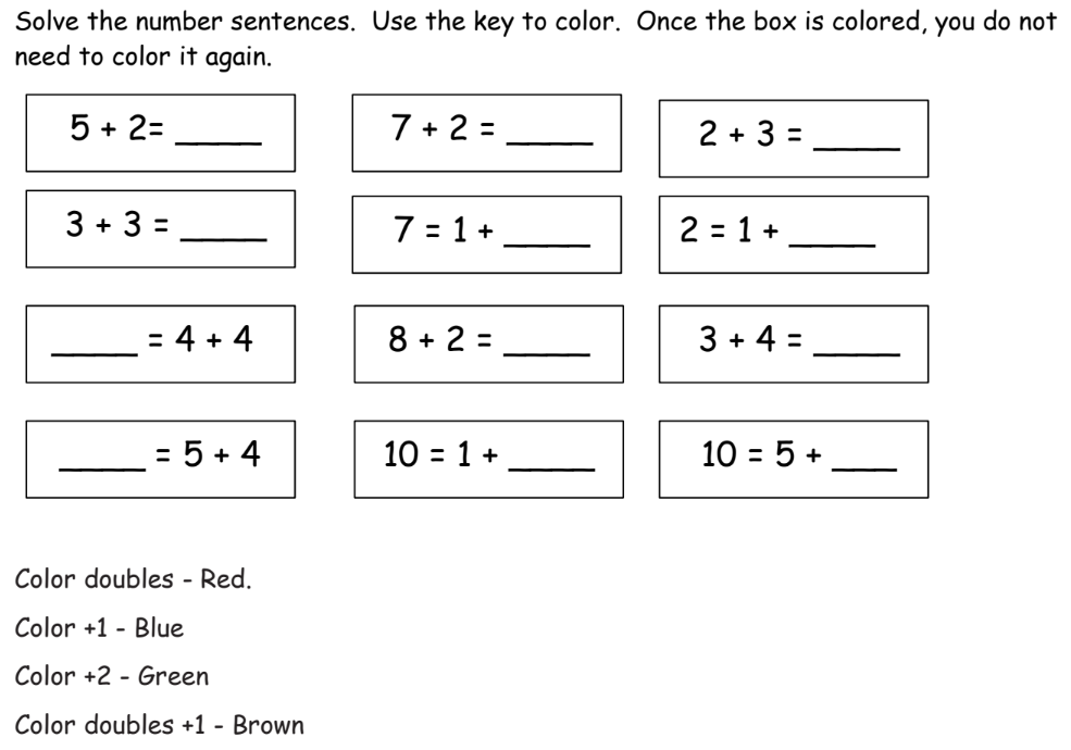 Doubles +1 Worksheet