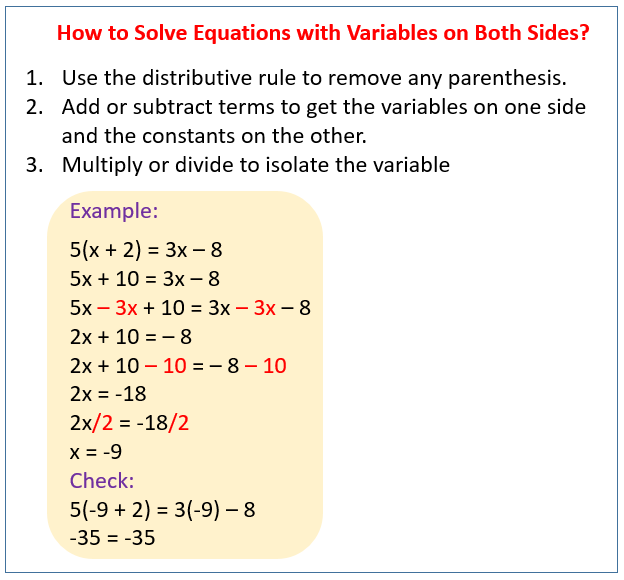 Solving Equations With Variables On Both Sides Solutions Examples