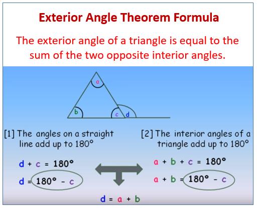 Exterior Angle Theorem Formula