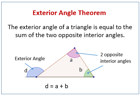 Exterior angle theorem solutions examples videos - Sum of the exterior angles of a triangle ...