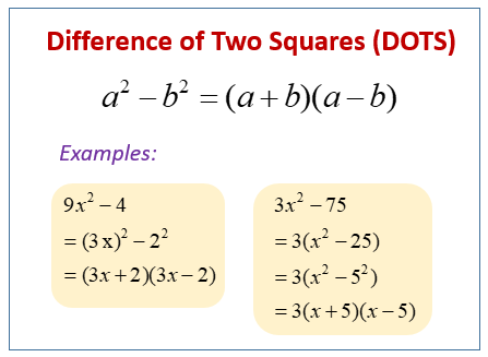Factor Difference of Two Squares