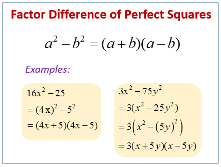 Factor Difference of Perfect Squares