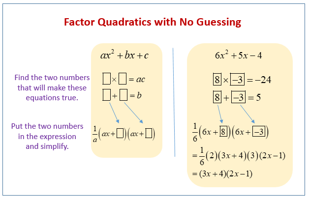 Factor Quadratics with no Guessing