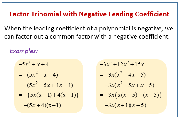 Factor Trinomial with Negative Leading Coefficient (examples ...