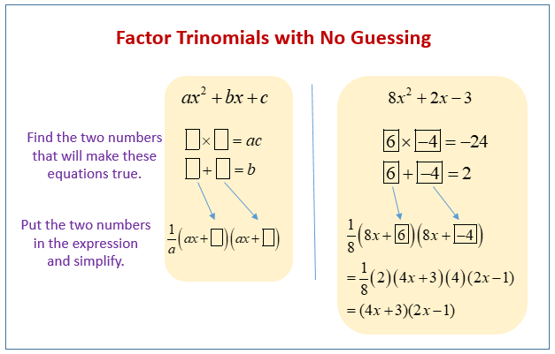 Factor Trinomials with no Guessing