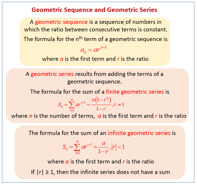 Geometric Sequences and Series (examples, solutions, videos) on