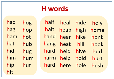 H sound words