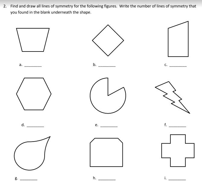Lines Symmetry Worksheets