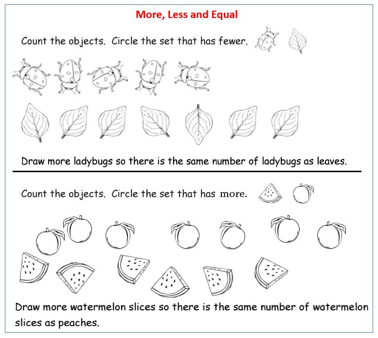 More Less Equal Worksheet