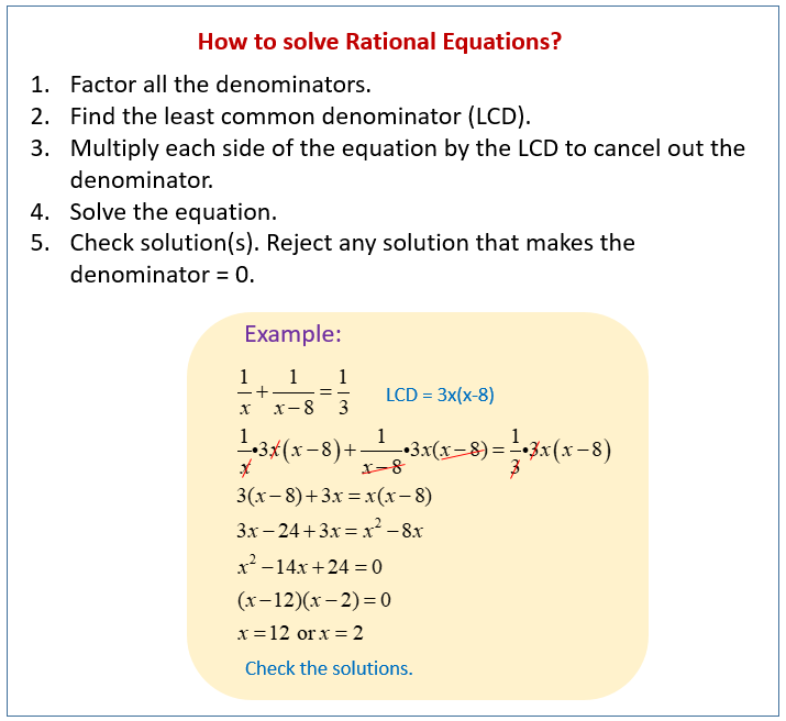 solve rational equations - Rational Equations Worksheet