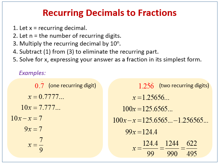 simplest form how to convert decimal to fraction  Convert Recurring Decimals to Fractions (solutions, examples ...