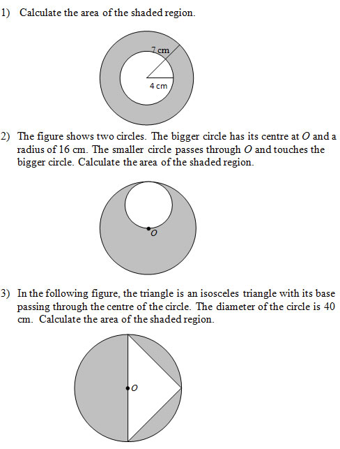 Area Of Shaded Regions That Involve Circles Worksheets