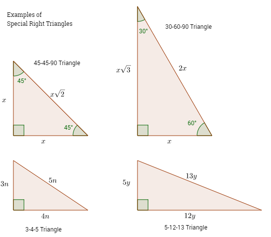 Geometry 5 8 special right triangles worksheet answers