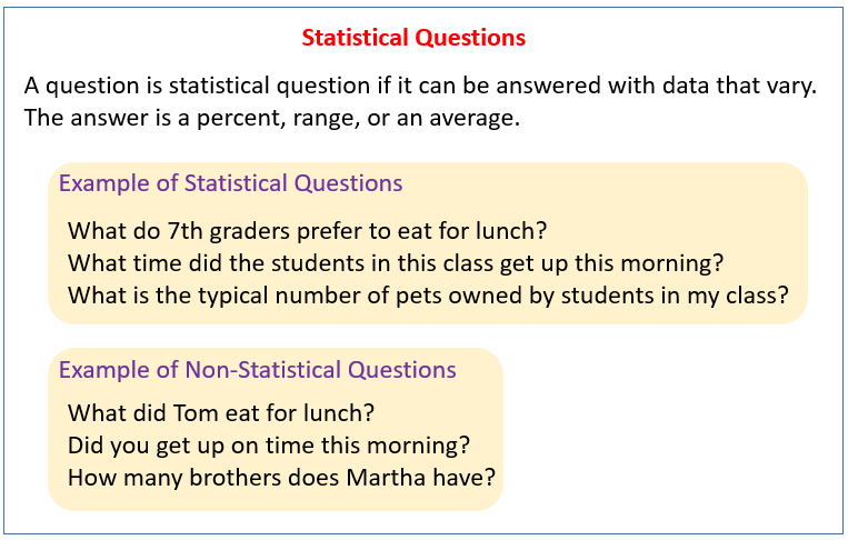 Statistical Questions 6sp1 on Math Worksheets