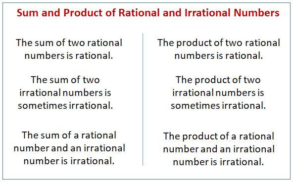 Sum Product Rational Irrational