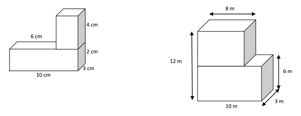Volume of two rectangular prisms