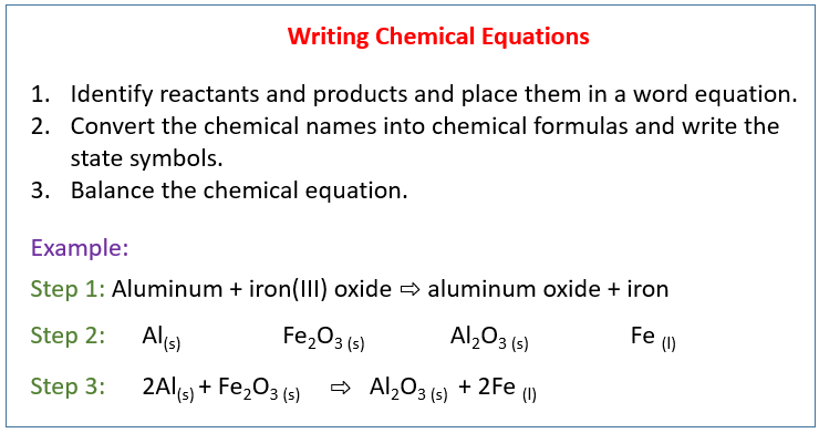 Writing A Balanced Chemical Equation  Solutions  Examples