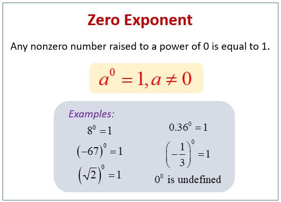 Zero Exponents (examples, solutions, videos, worksheets ... on zero police motorcycles, zero to ten tracing numbers, zero place value, zero electric motorcycle, zero printables, zero bike, zero helicopter,